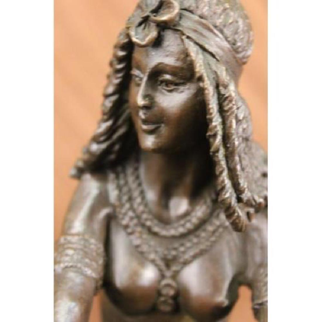 Sitting Egyptian Nude Princess Bronze Sculpture - 3