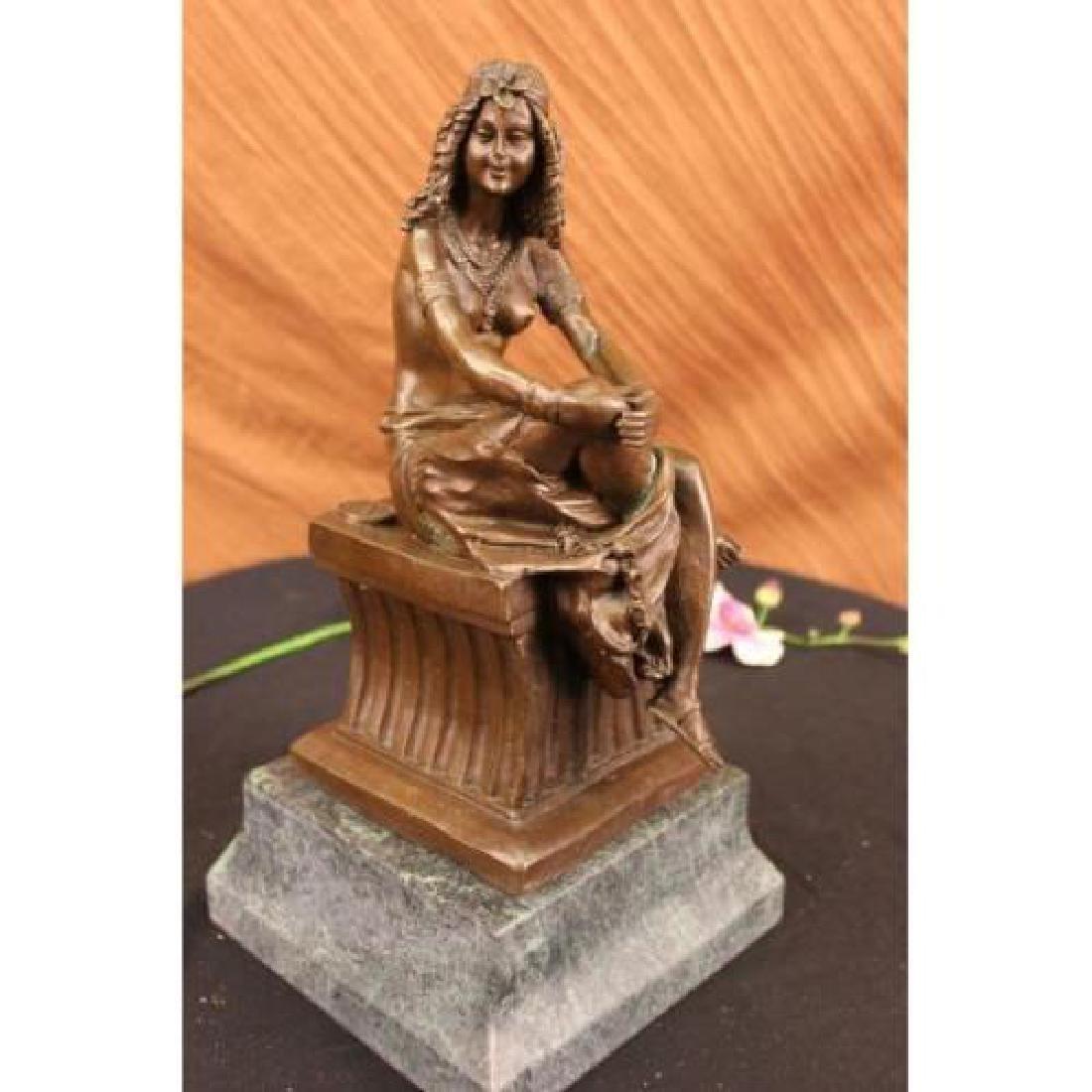 Sitting Egyptian Nude Princess Bronze Sculpture - 4
