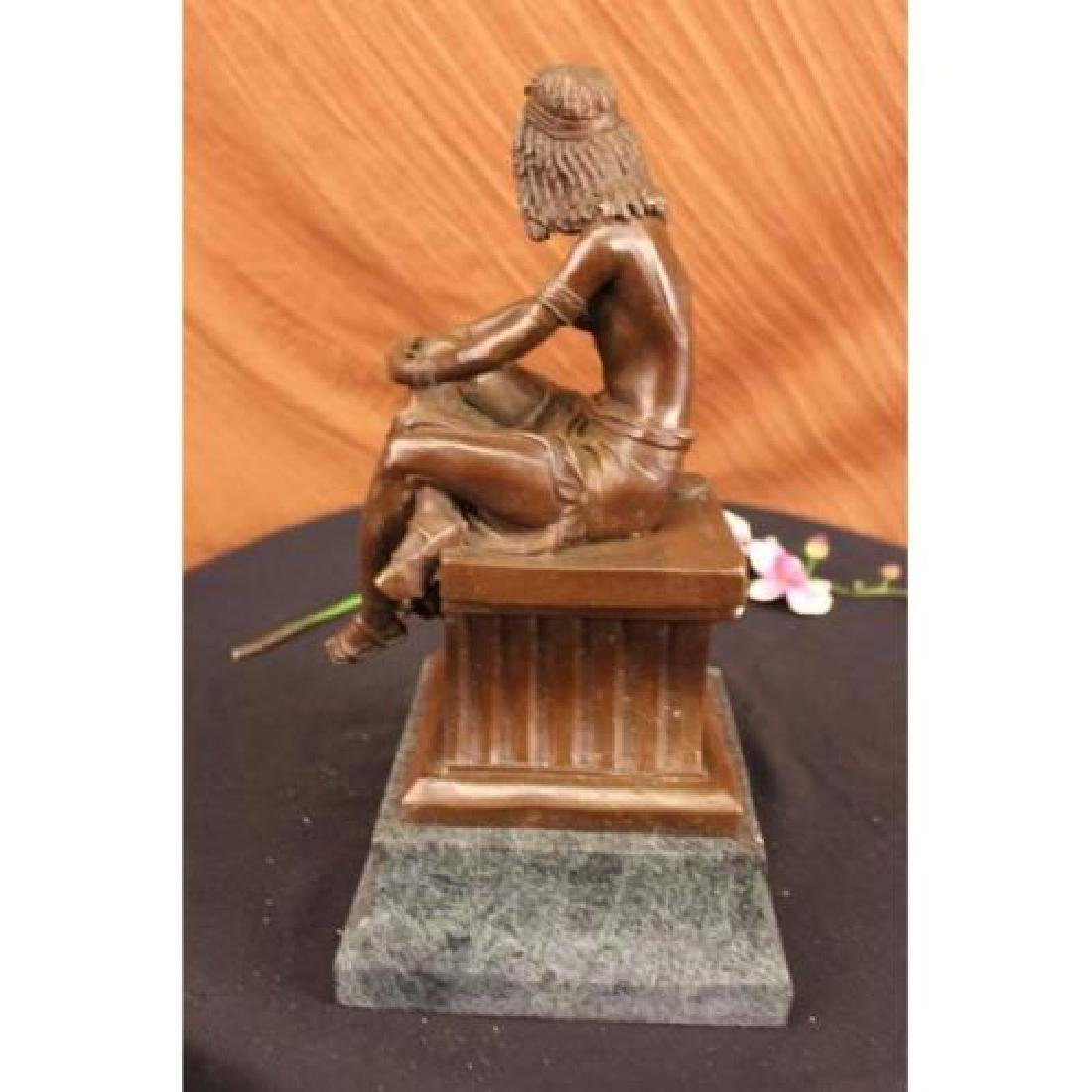 Sitting Egyptian Nude Princess Bronze Sculpture - 5