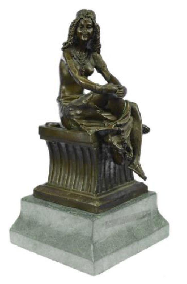 Sitting Egyptian Nude Princess Bronze Sculpture - 9