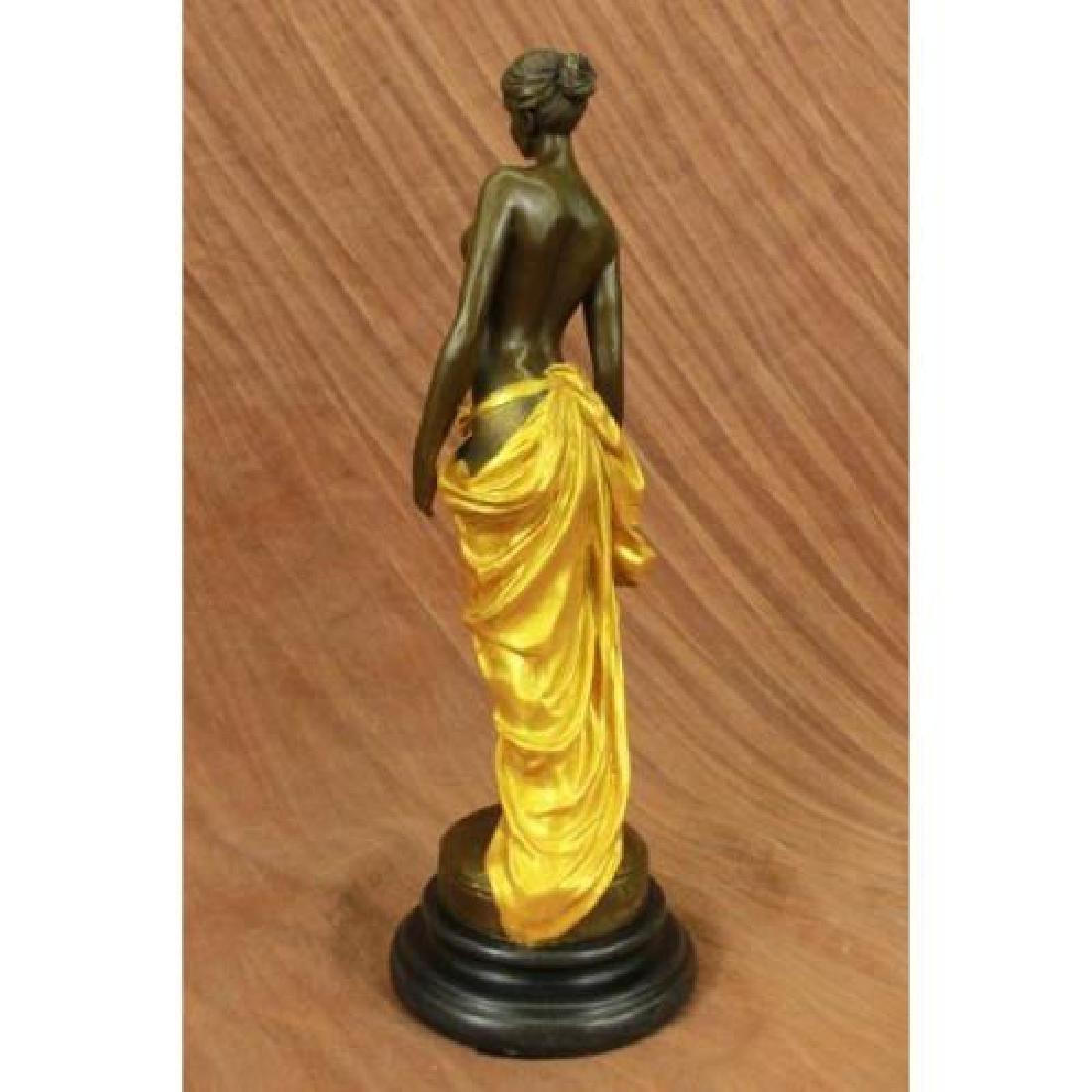Gilt Nude Girl Bronze Sculpture - 3