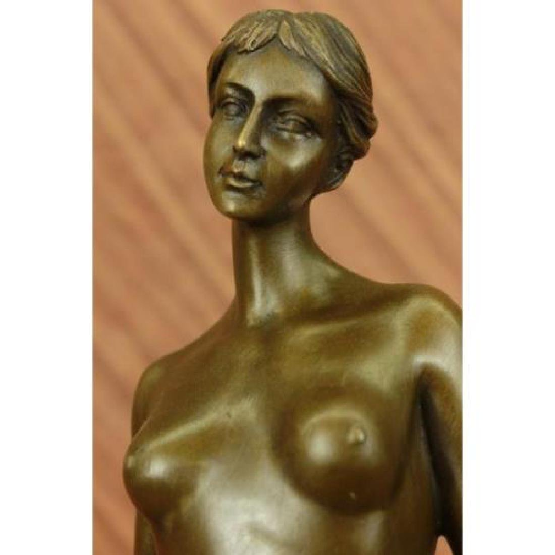 Gilt Nude Girl Bronze Sculpture - 5