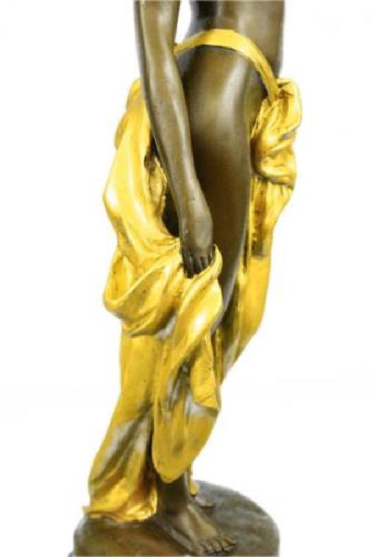 Gilt Nude Girl Bronze Sculpture - 7