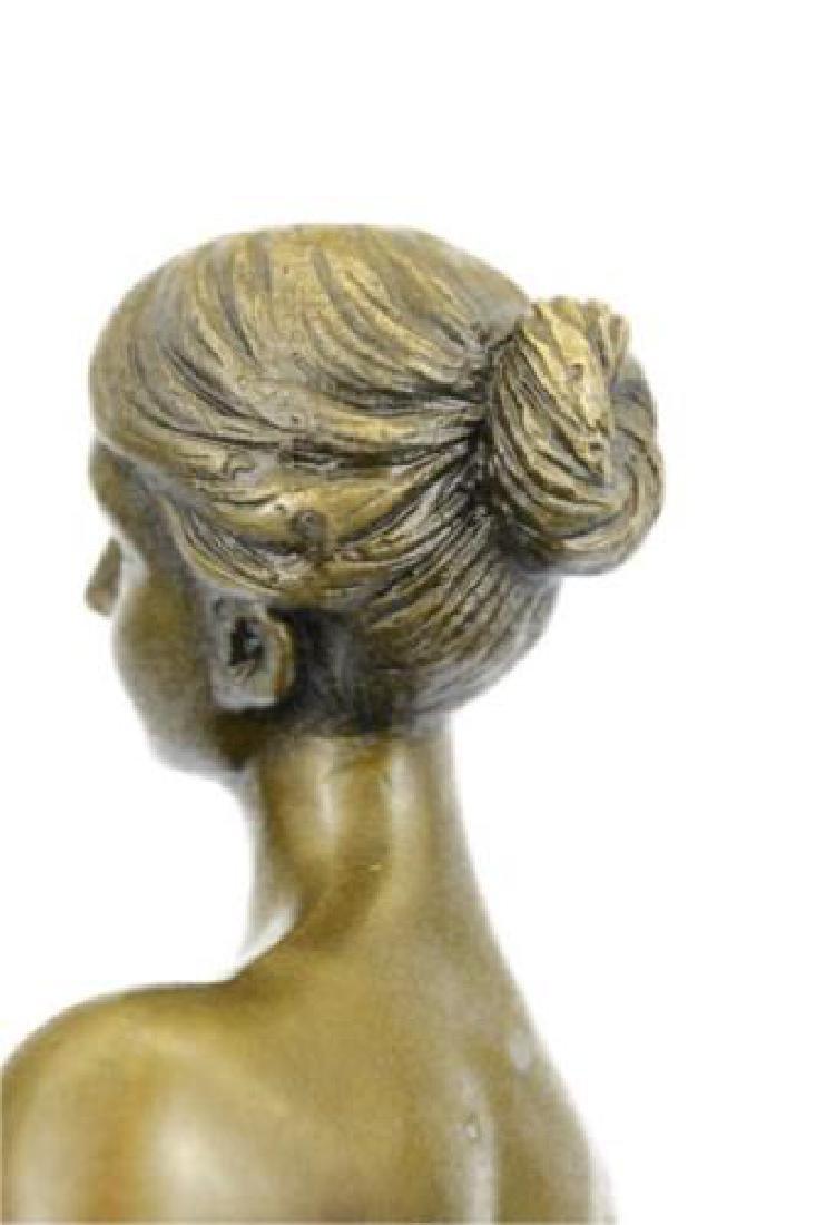 Gilt Nude Girl Bronze Sculpture - 8