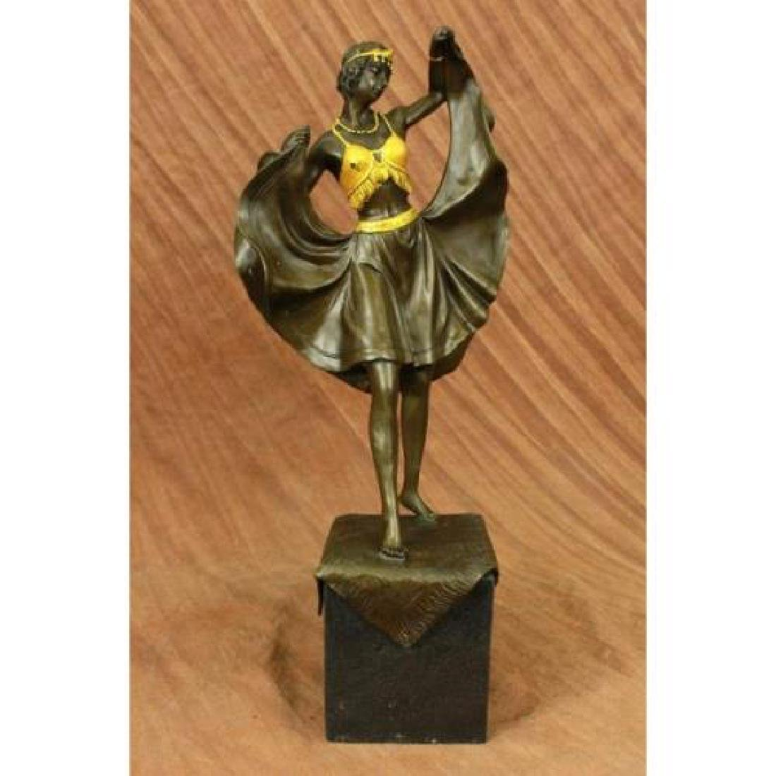 Arabian Girl With Lifting Skirt on Rug Bronze Sculpture