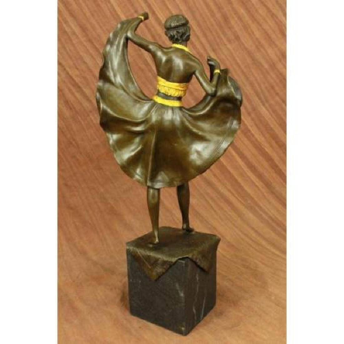 Arabian Girl With Lifting Skirt on Rug Bronze Sculpture - 4