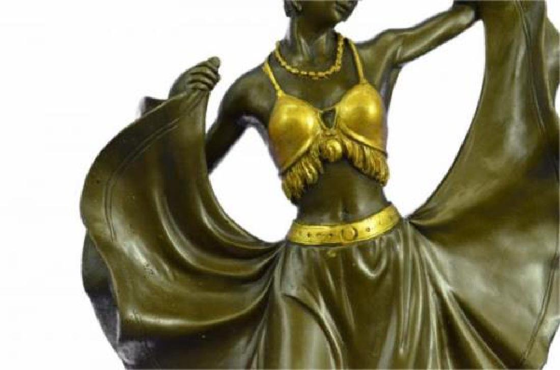 Arabian Girl With Lifting Skirt on Rug Bronze Sculpture - 7