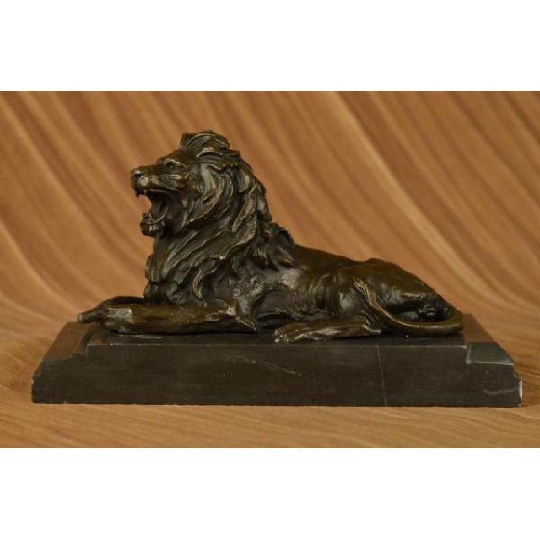 African Lion Roaring Bronze Sculpture on Marble Base