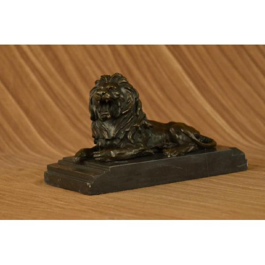 African Lion Roaring Bronze Sculpture on Marble Base - 2