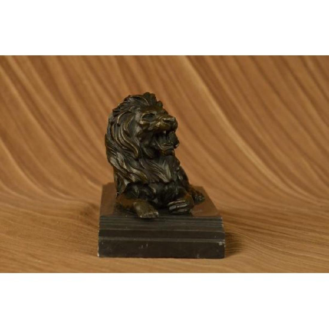 African Lion Roaring Bronze Sculpture on Marble Base - 3