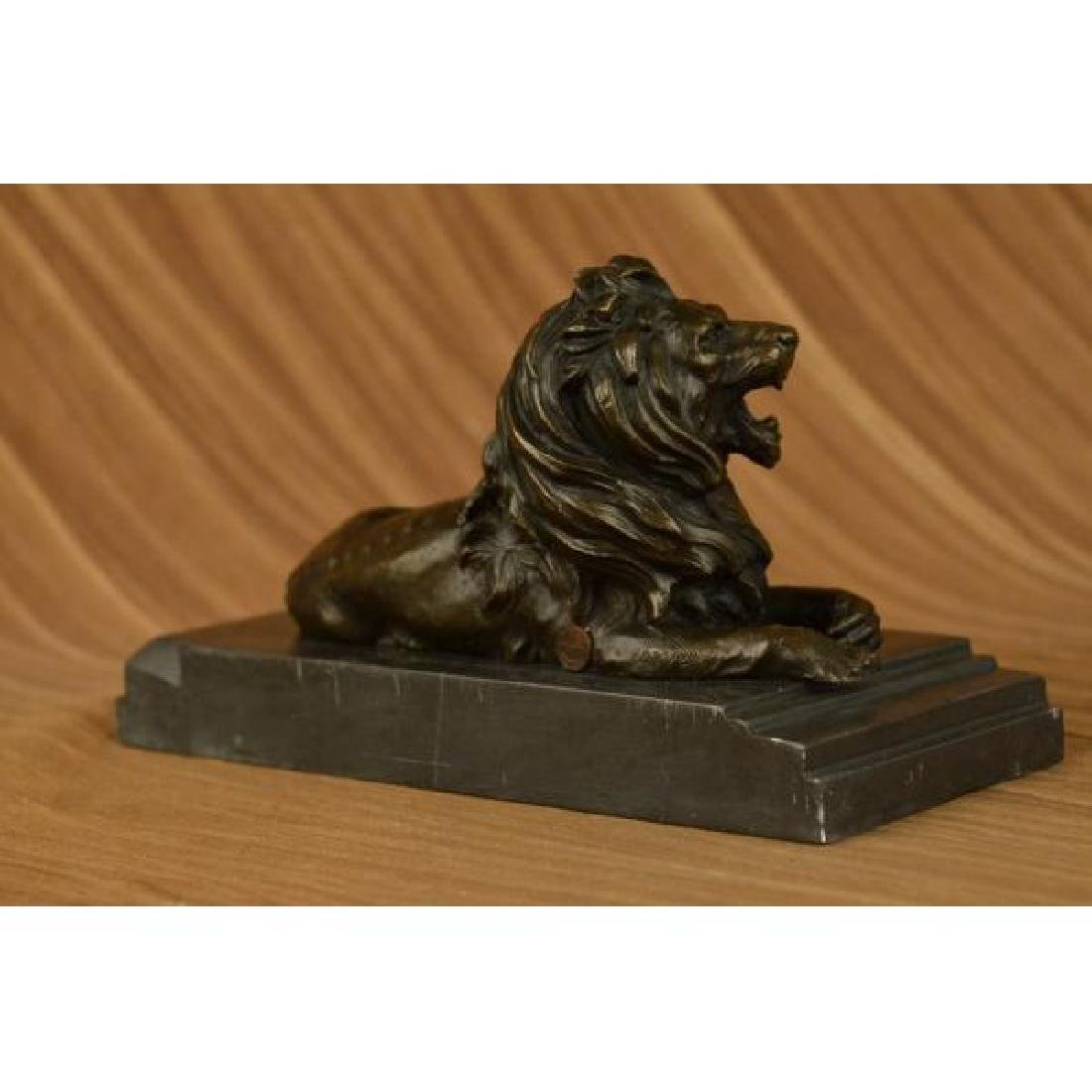 African Lion Roaring Bronze Sculpture on Marble Base - 4