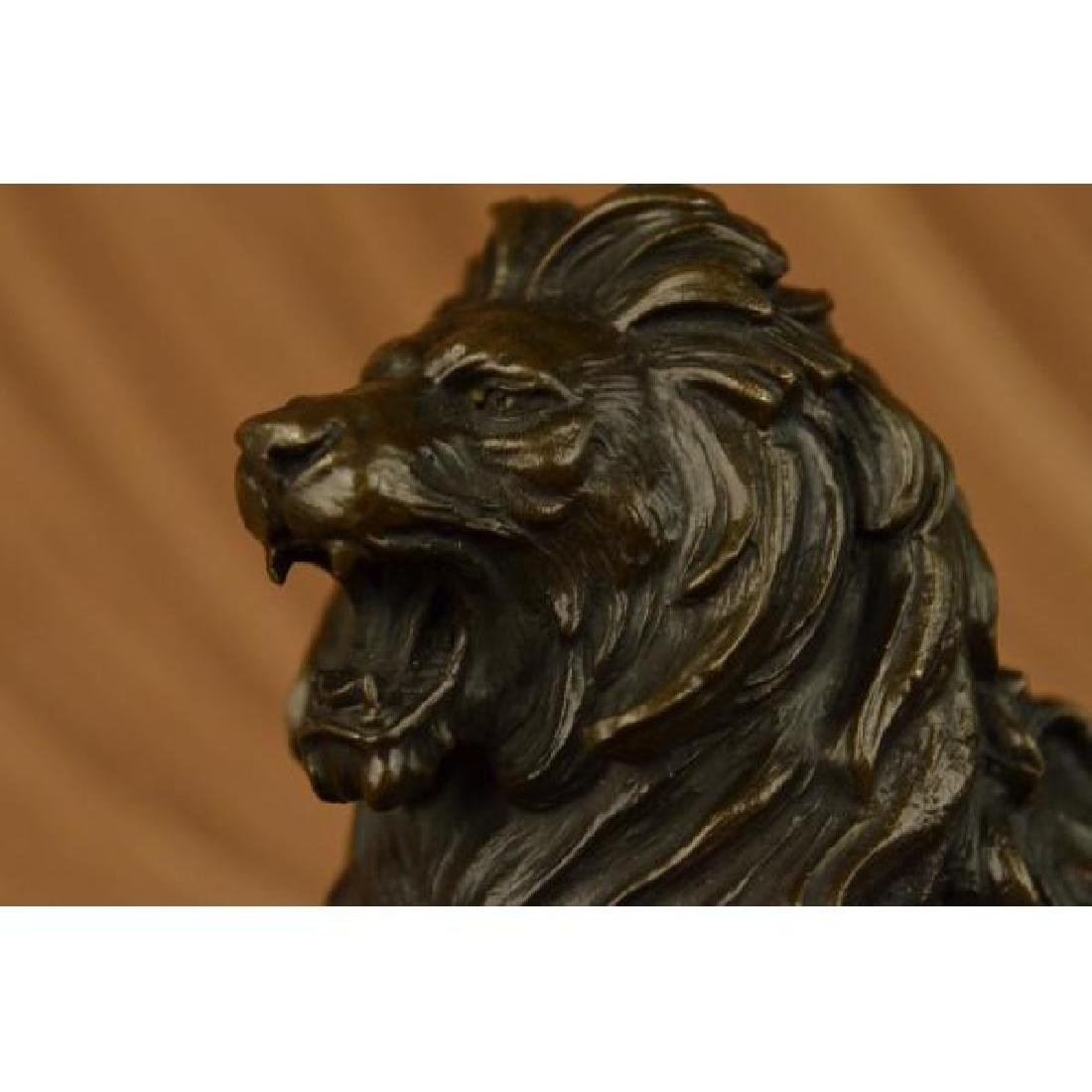 African Lion Roaring Bronze Sculpture on Marble Base - 5