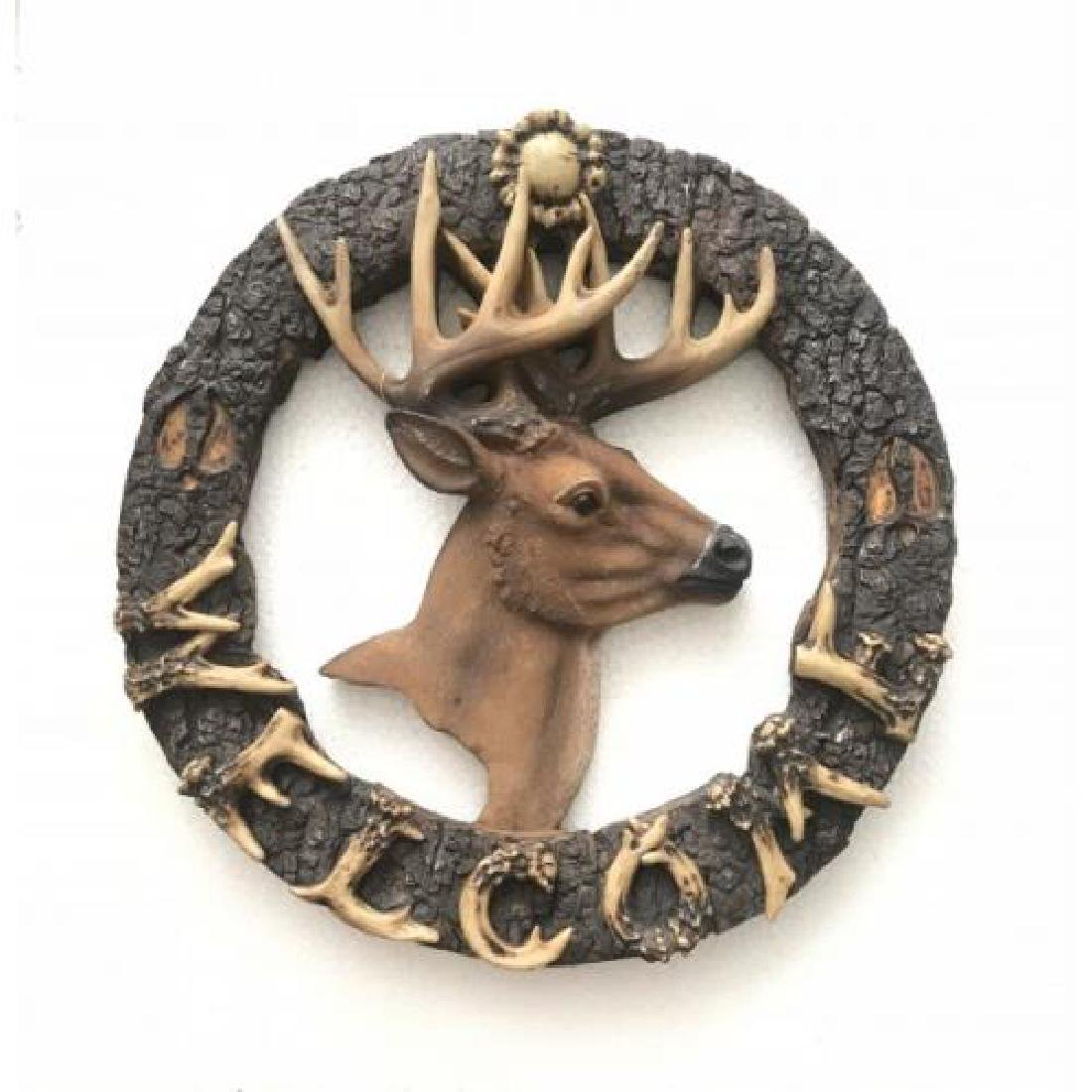 Welcome Sign Stag Buck Cold Cast Bronze Sculpture