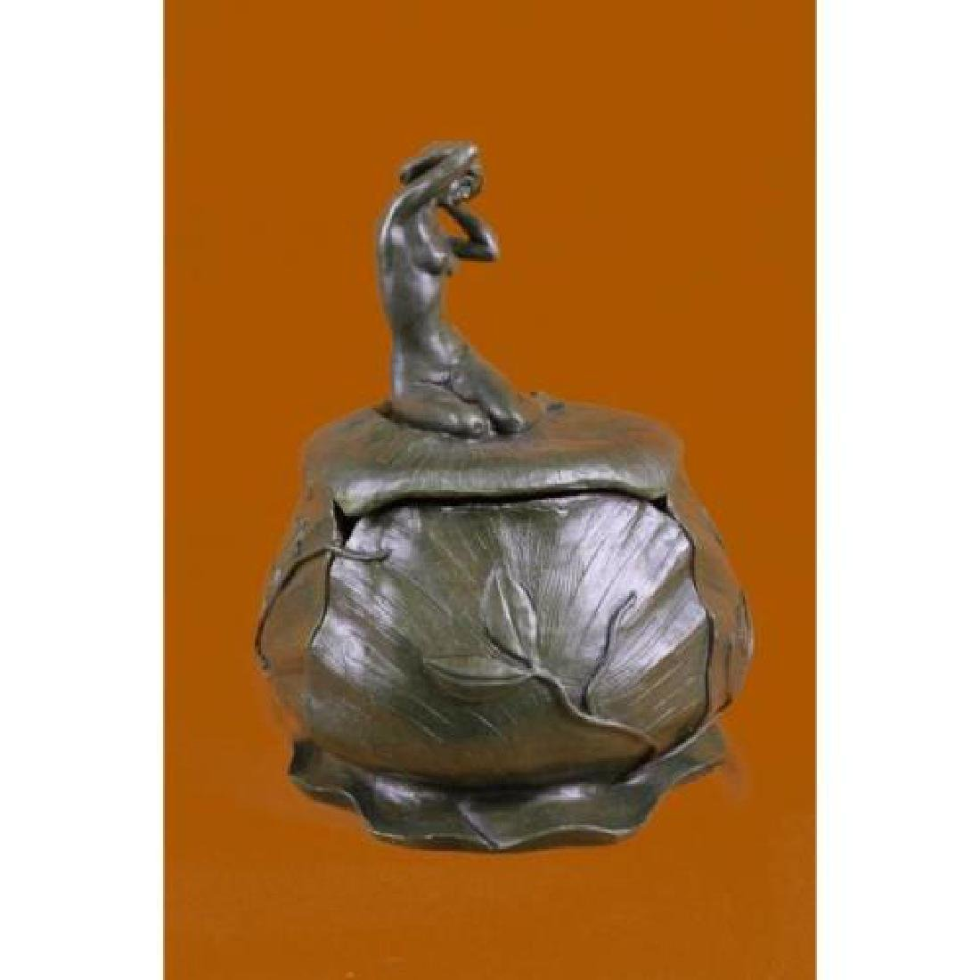 Bowl or Jewelry Box With Lid Bronze Sculpture - 2