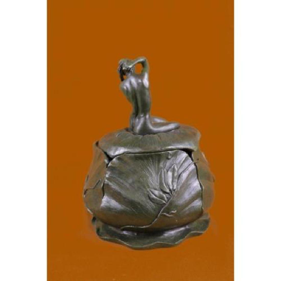 Bowl or Jewelry Box With Lid Bronze Sculpture - 3