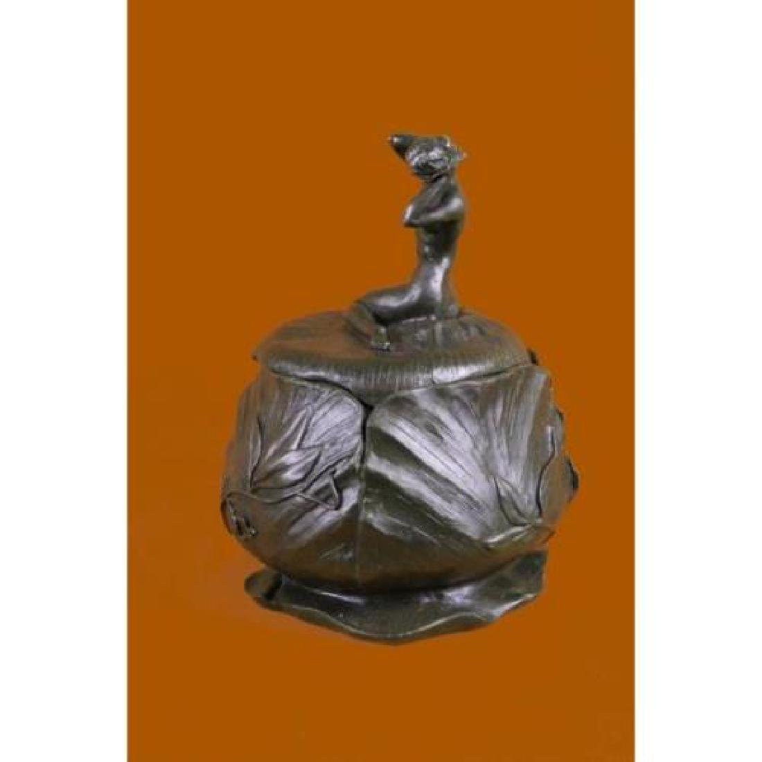 Bowl or Jewelry Box With Lid Bronze Sculpture - 5