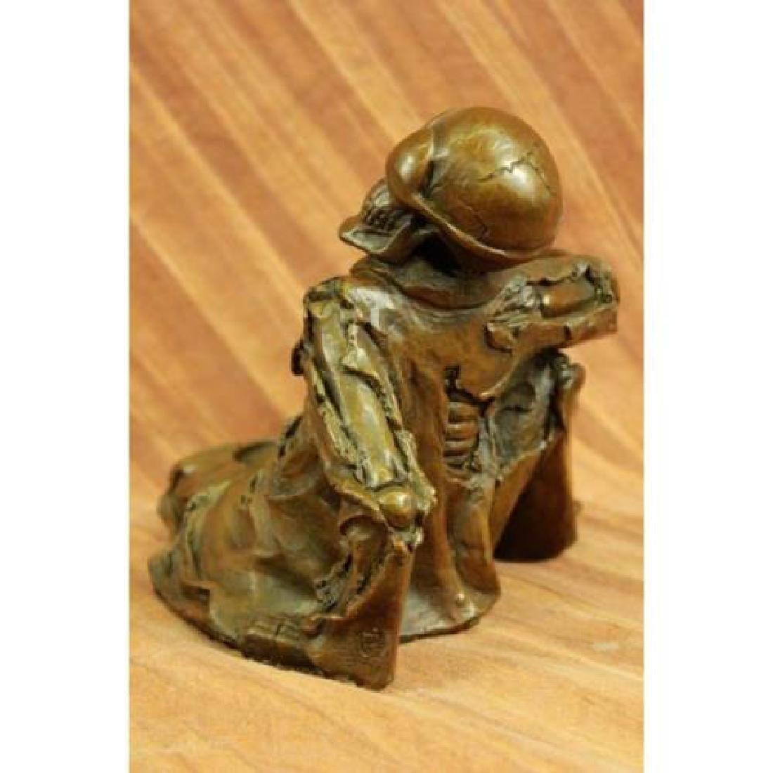 Skeleton Wine Bottle Holder Pure Bronze Sculpture - 2