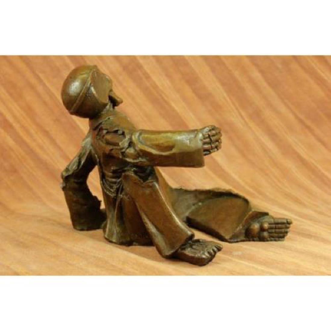 Skeleton Wine Bottle Holder Pure Bronze Sculpture - 3