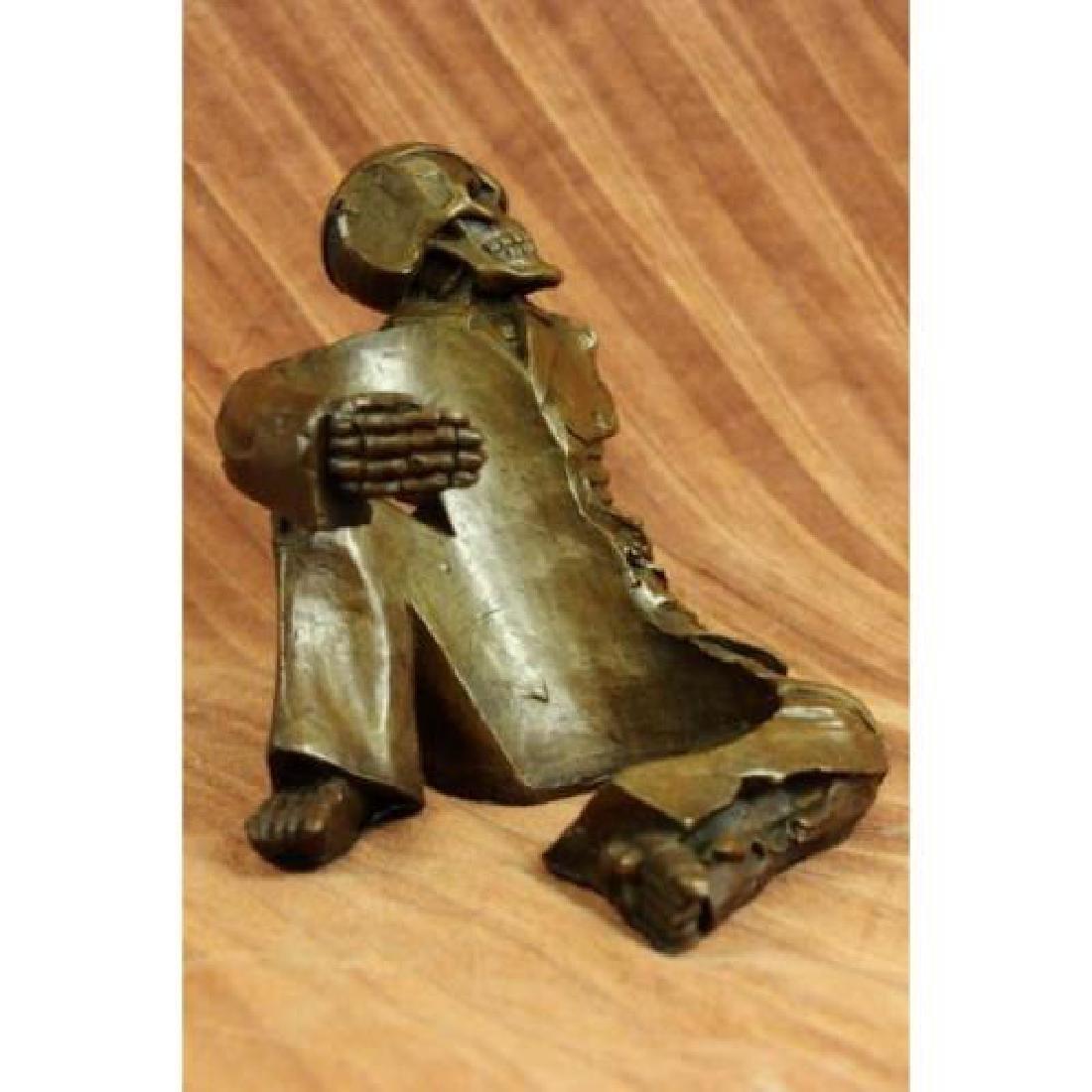 Skeleton Wine Bottle Holder Pure Bronze Sculpture - 4