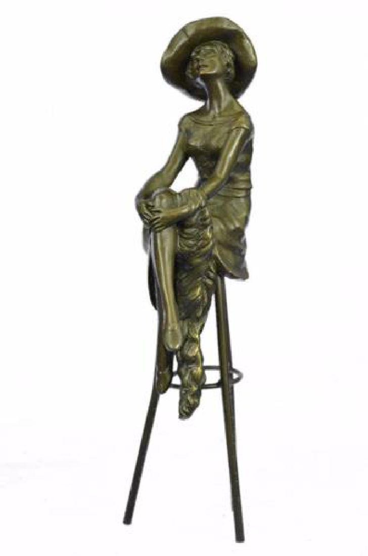 Fashion Model Sitting on Chair Bronze Sculpture