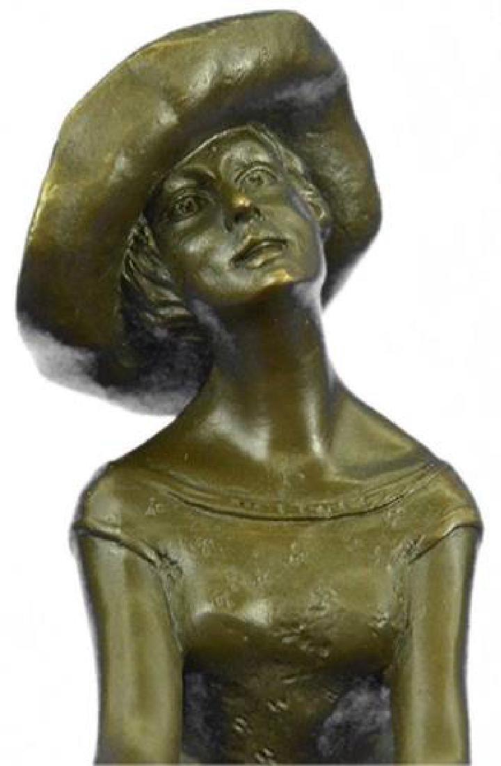 Fashion Model Sitting on Chair Bronze Sculpture - 2