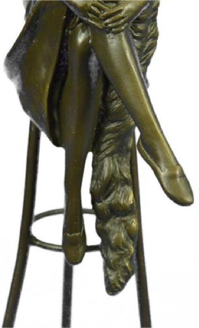 Fashion Model Sitting on Chair Bronze Sculpture - 3
