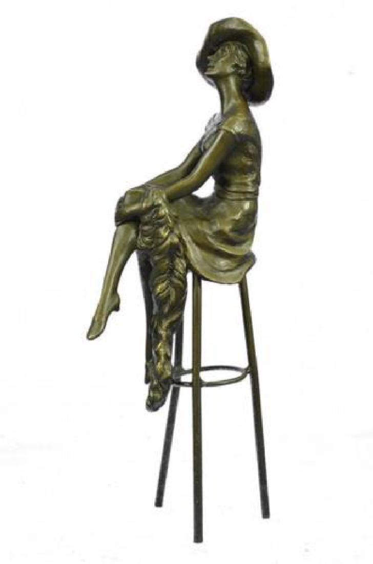 Fashion Model Sitting on Chair Bronze Sculpture - 5
