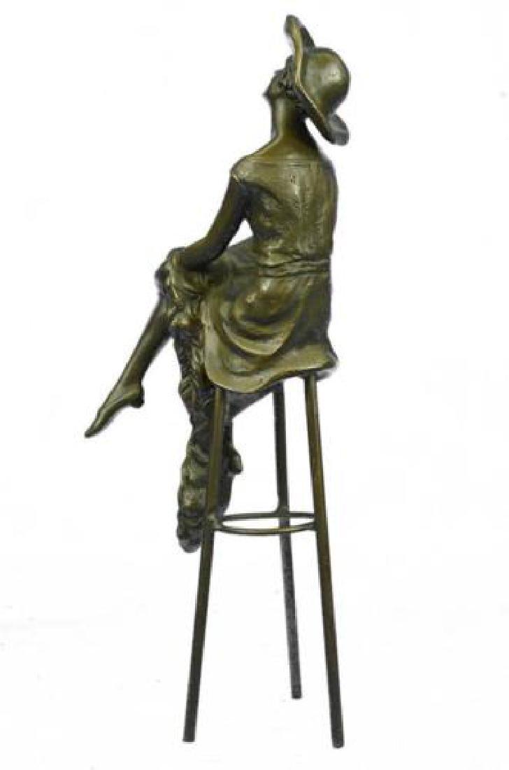 Fashion Model Sitting on Chair Bronze Sculpture - 6