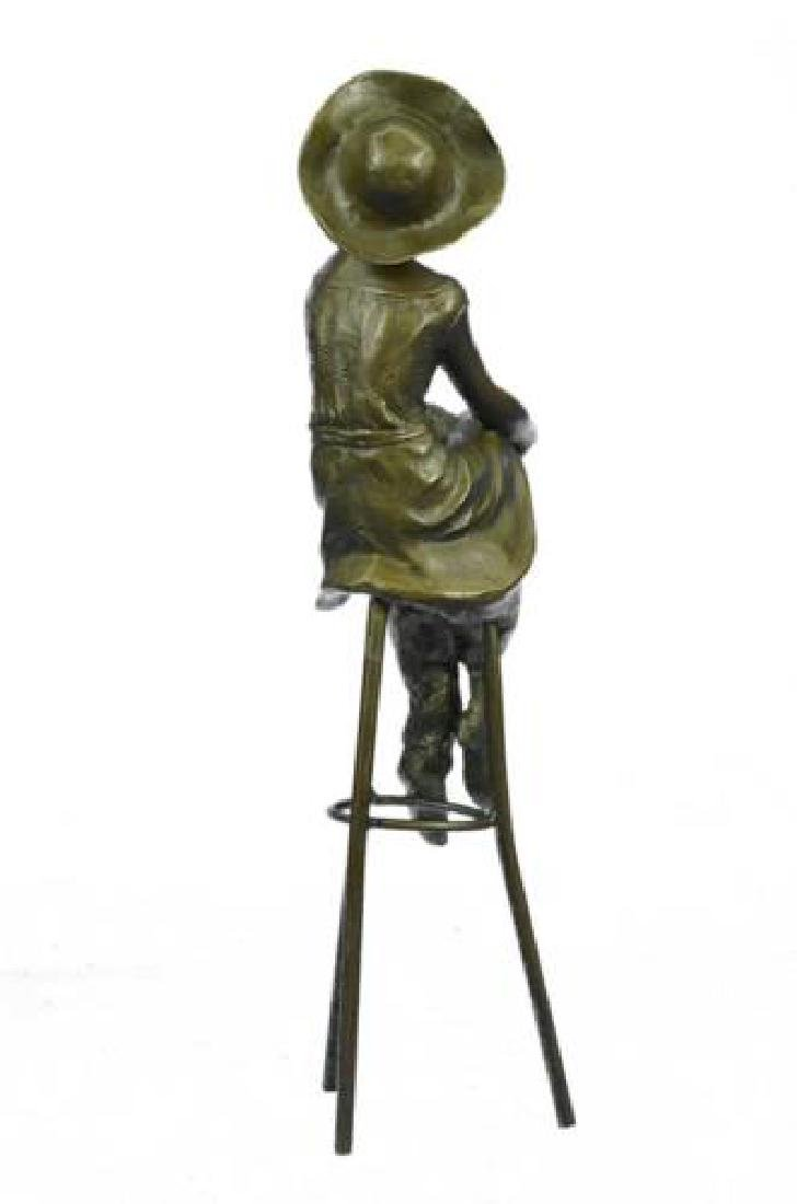 Fashion Model Sitting on Chair Bronze Sculpture - 7