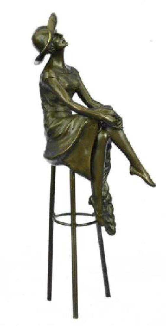 Fashion Model Sitting on Chair Bronze Sculpture - 8