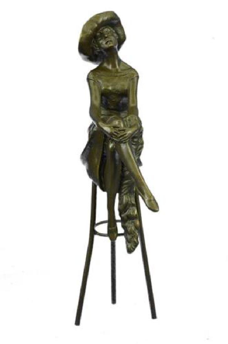 Fashion Model Sitting on Chair Bronze Sculpture - 9
