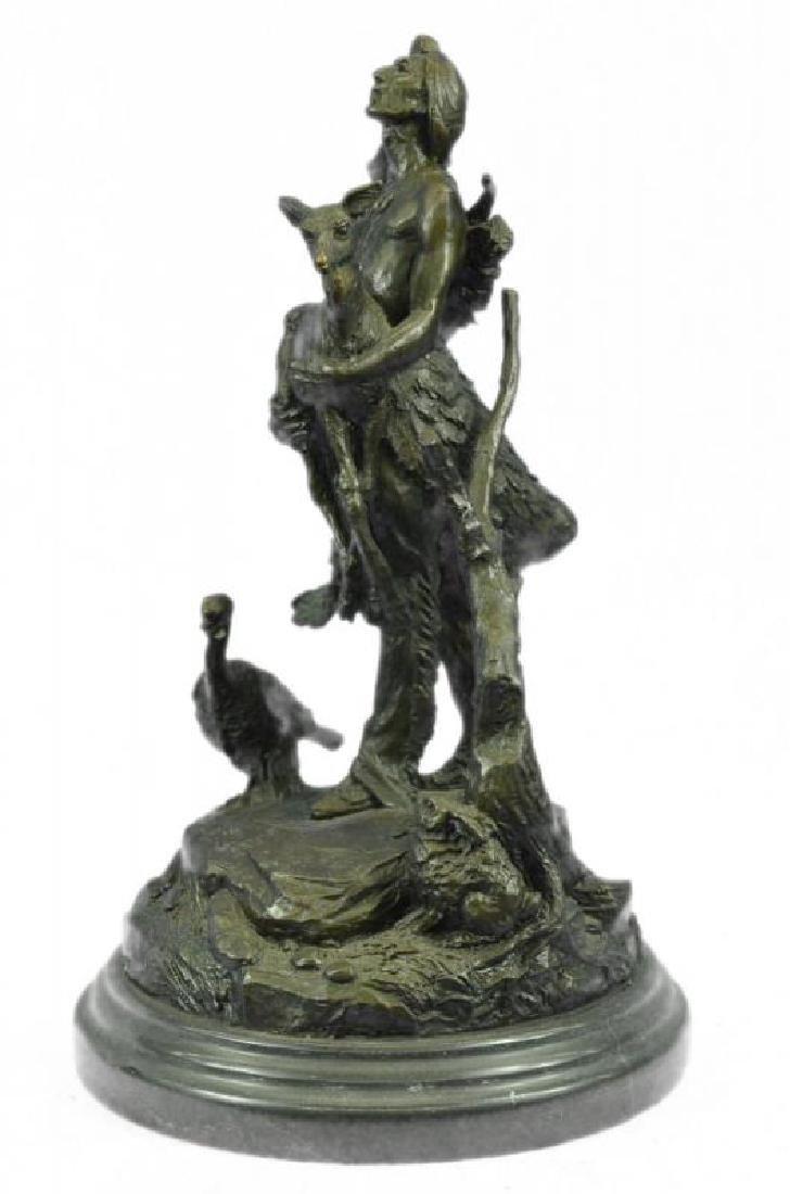 Indian Native American With Deer Bronze Sculpture
