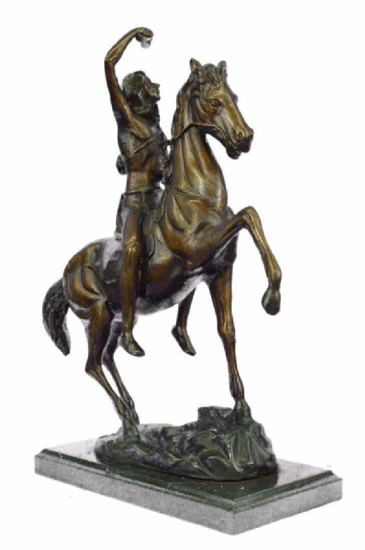 Man on Horse The Scalp Bronze Statue - 2
