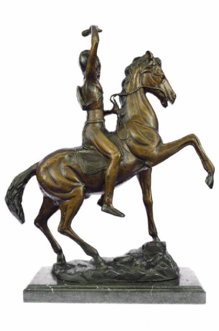 Man on Horse The Scalp Bronze Statue - 3