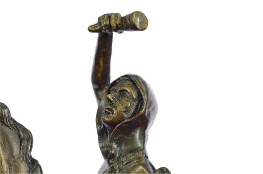 Man on Horse The Scalp Bronze Statue - 6