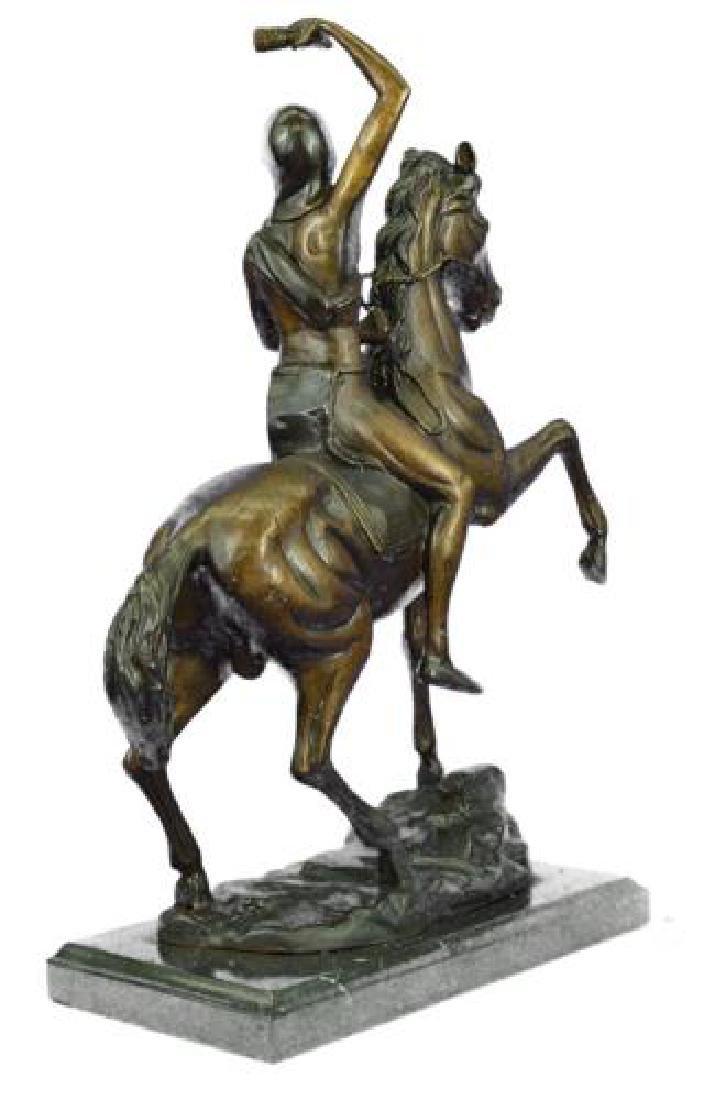 Man on Horse The Scalp Bronze Statue - 8