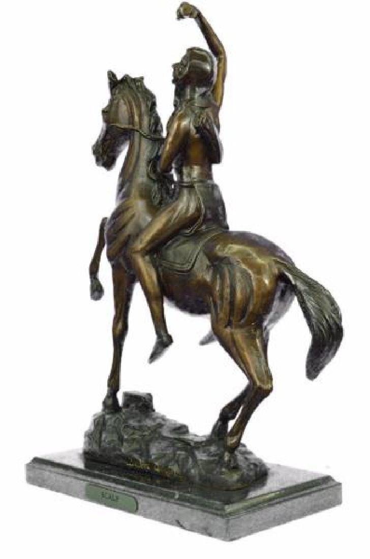 Man on Horse The Scalp Bronze Statue - 9