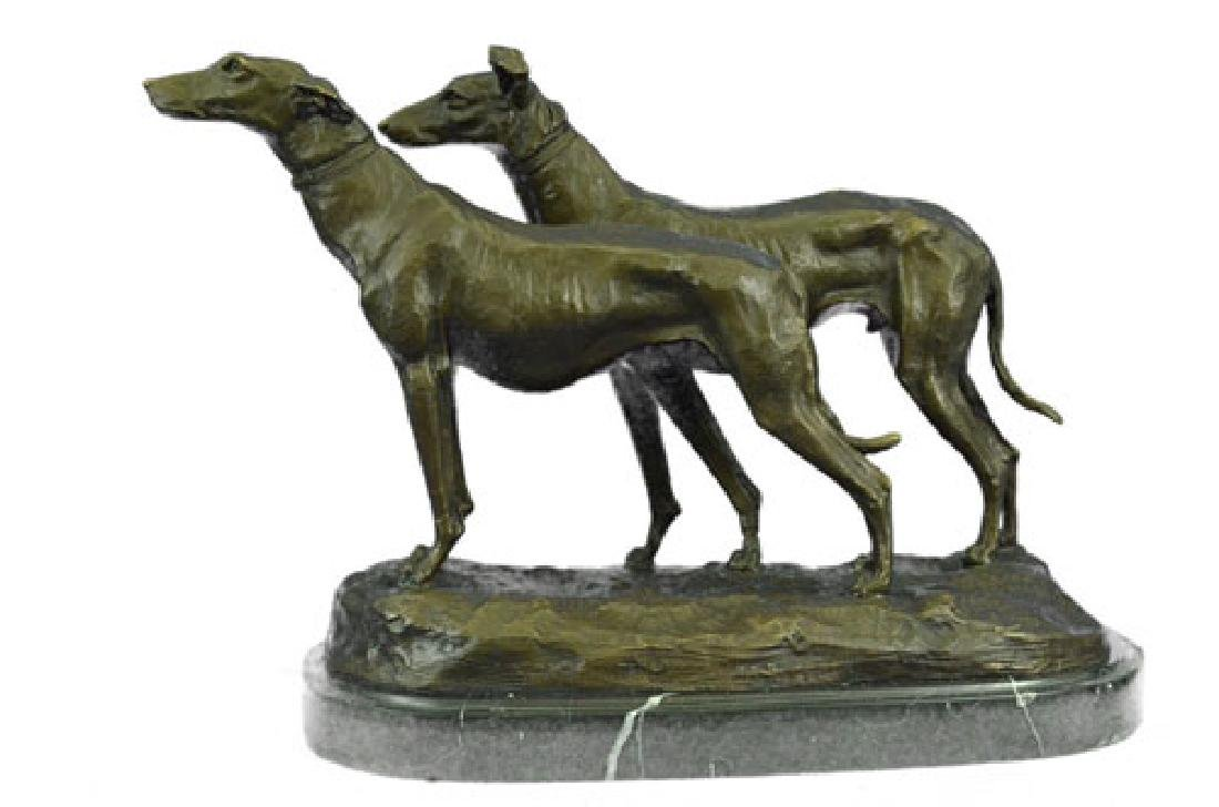 Greyhounds Racing Dog Bronze on Marble Base Sculpture