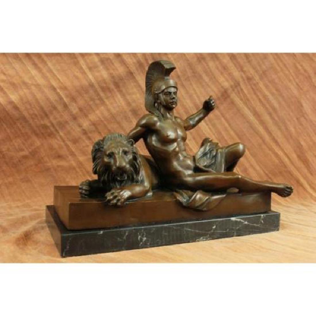 Roman Warrior Laying next to Lion Bronze Sculpture