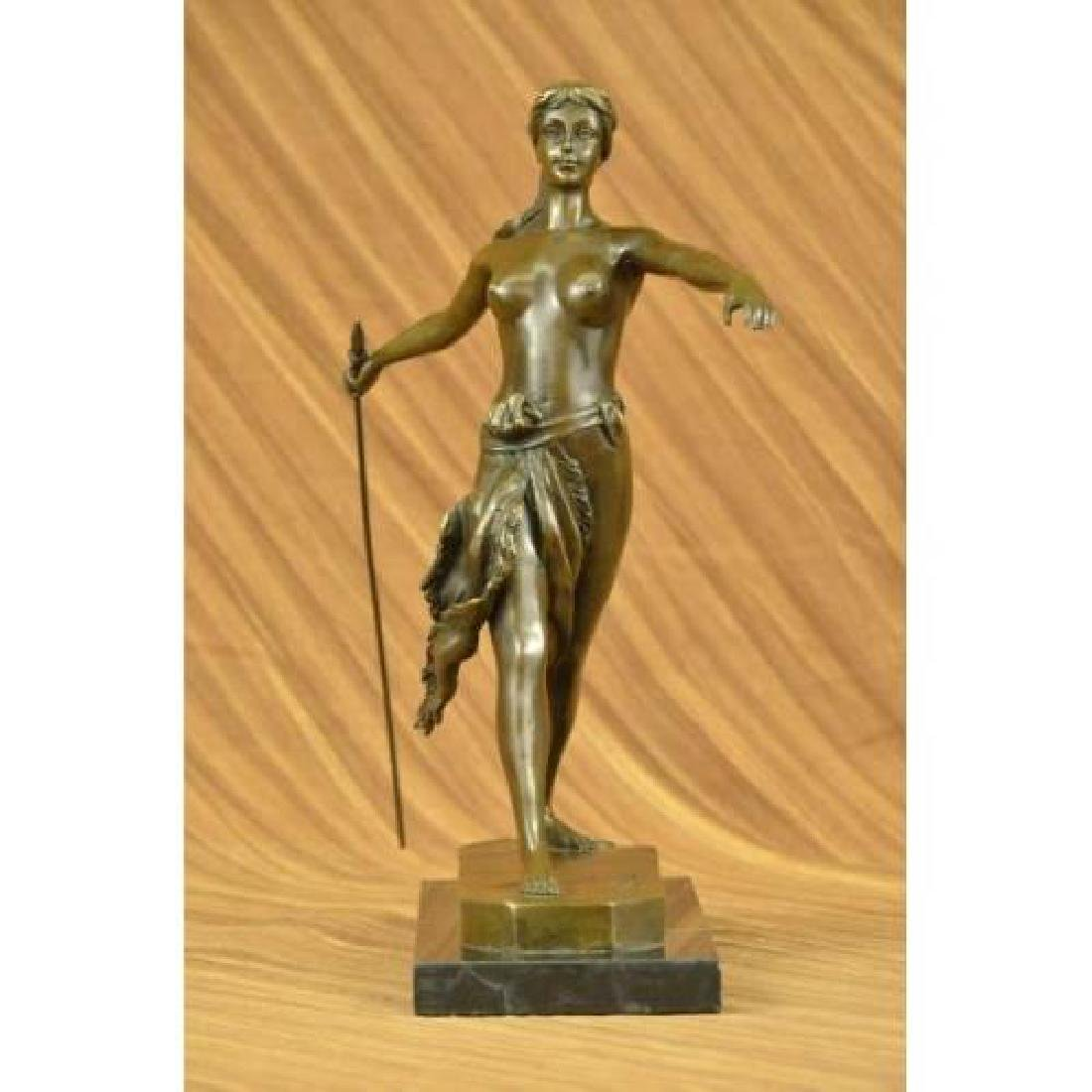 Diana the Huntress Elegant Bronze Sculpture on Marble