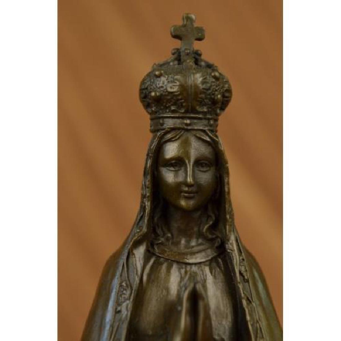 Religious Crowned Virgin Mary Bronze Figurine