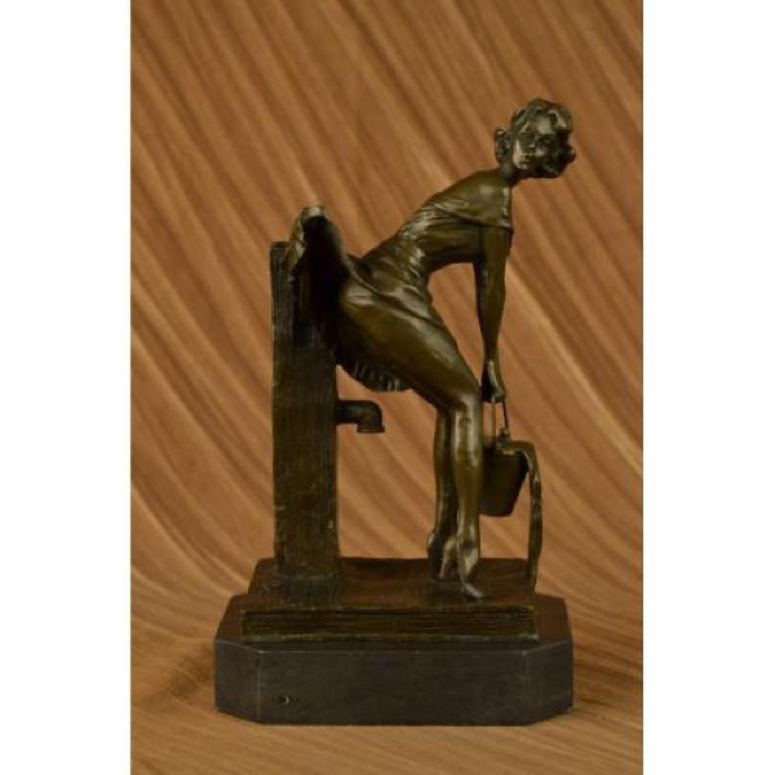 Wells Got Her Skirt Exposing Her Toosh Bronze Sculpture