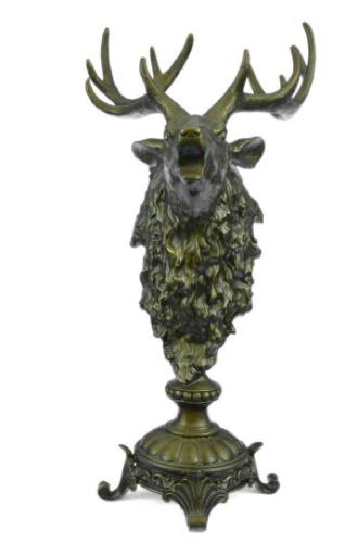 Elk Deer Bust Head Lodge Cabin Wildlife Art Bronze