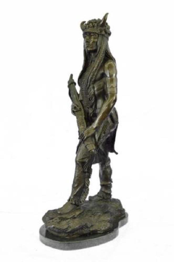 Native American Indian Chief Bronze Figurine on Marble