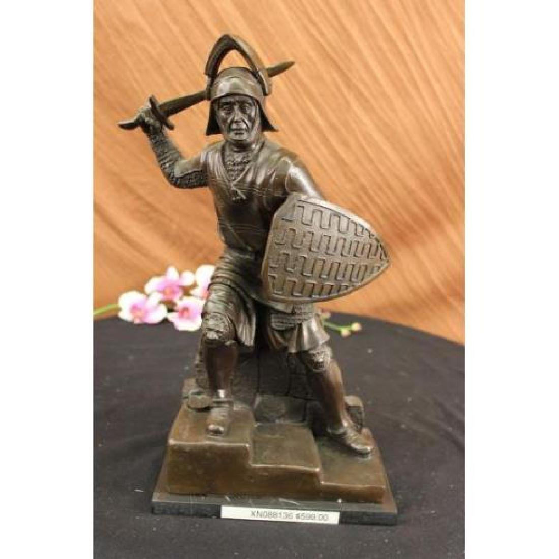 Bold Knight Warrior With Sword Bronze Statue