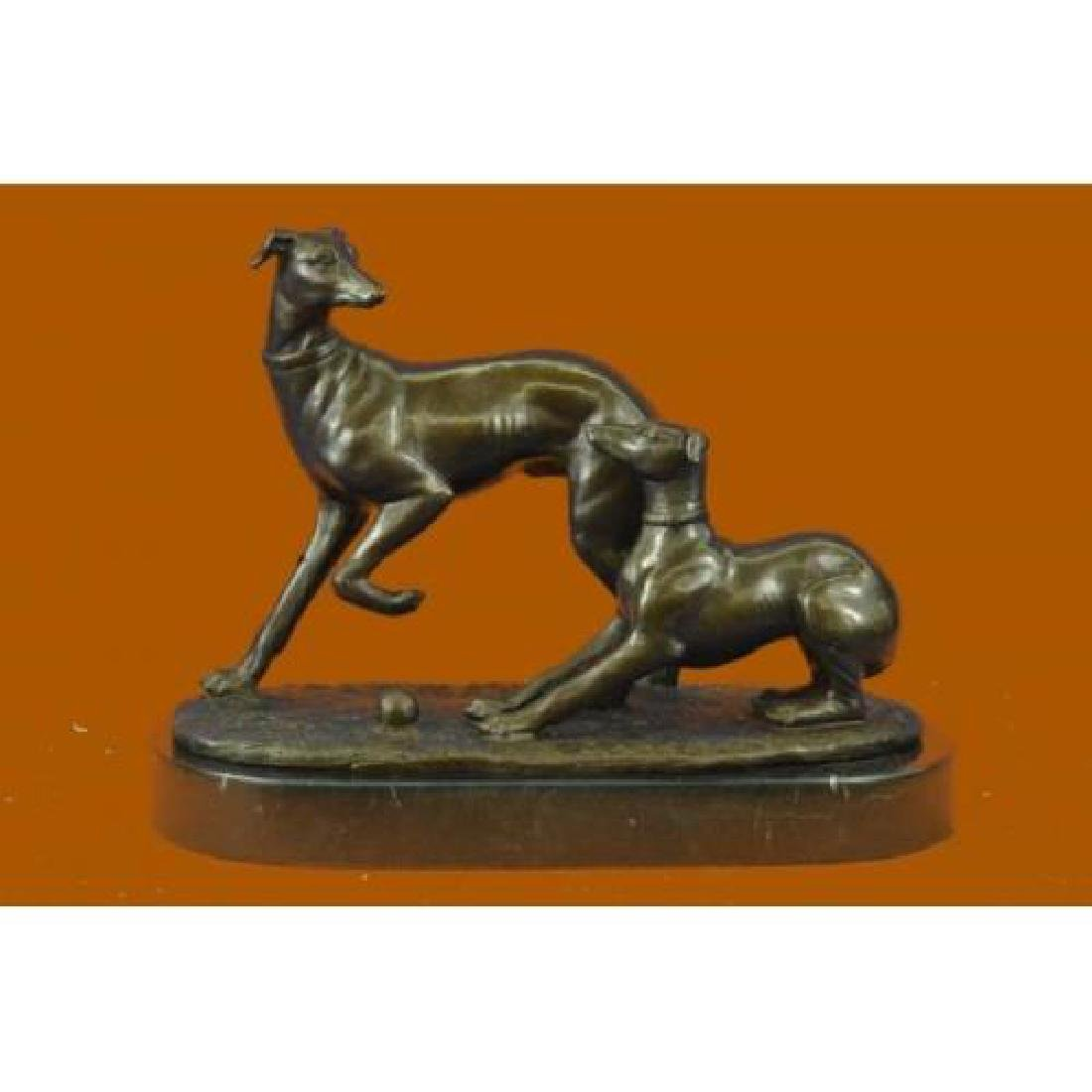 Two Greyhounds Playing Argente And Dore Bronze Statue