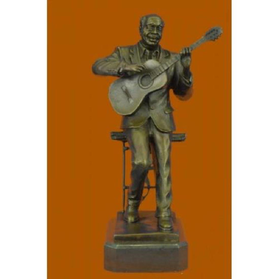 Guitar Player Bronze Statue on Marble Base Sculpture