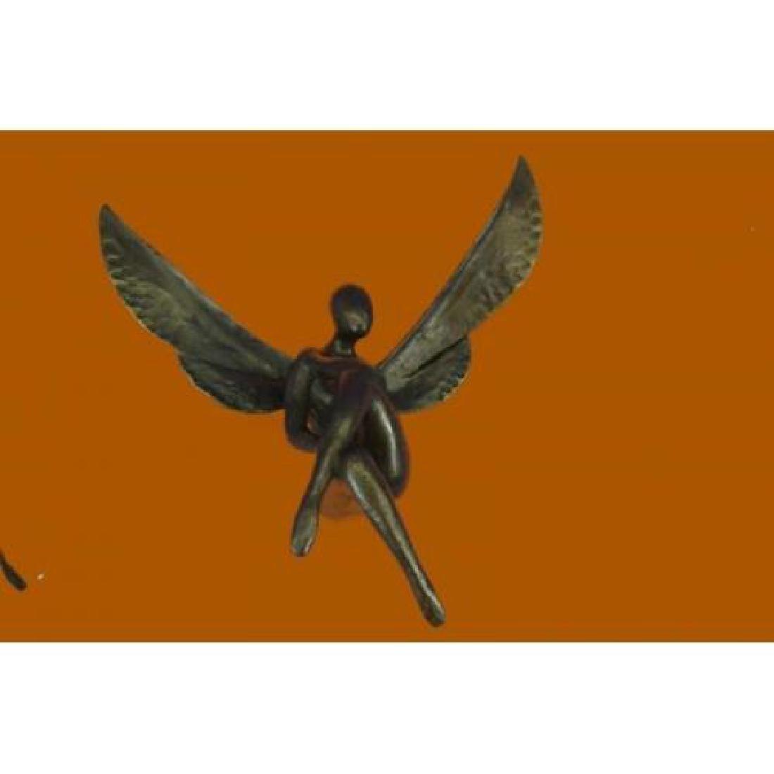 Wall Mount Sitting Angel Bronze Sculpture