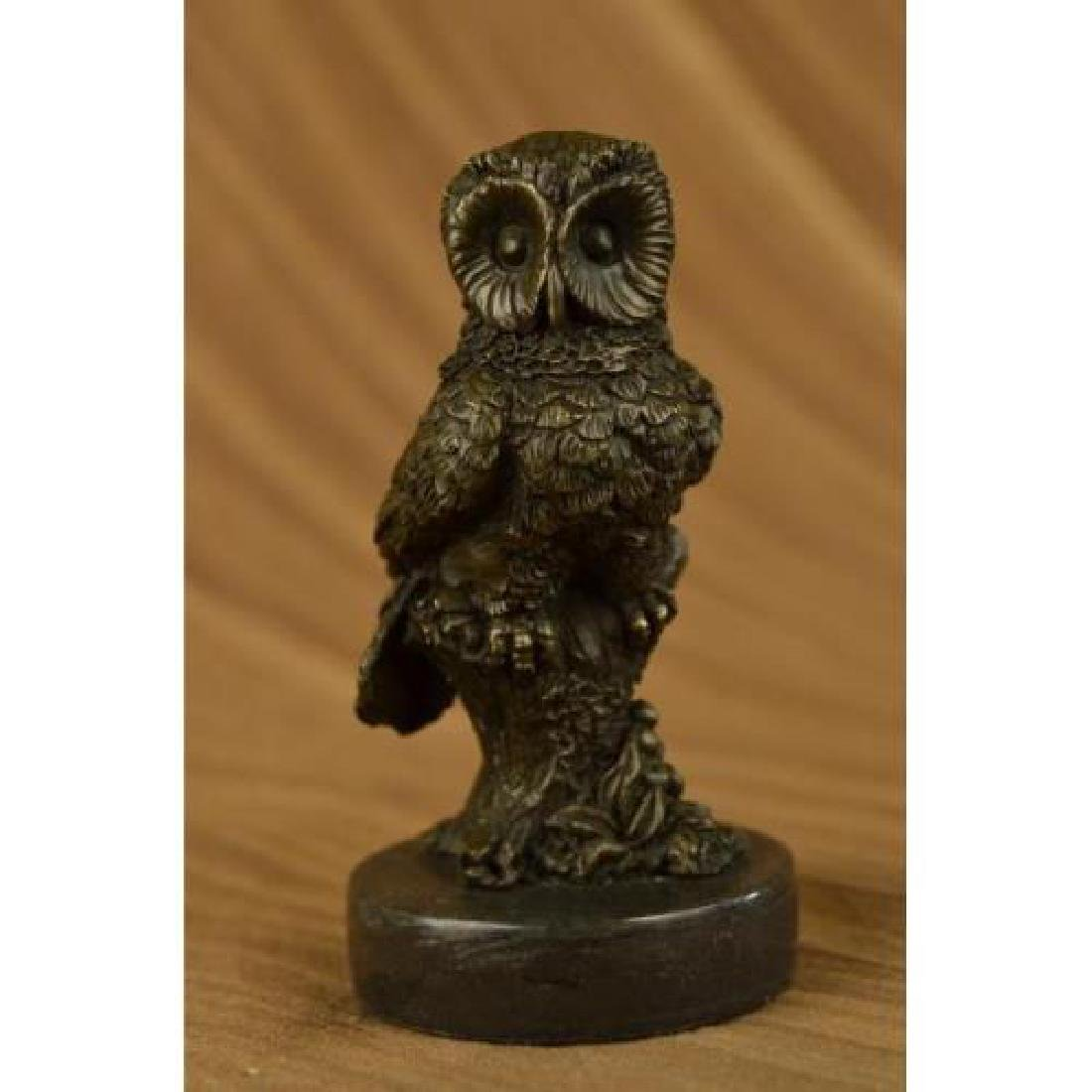 Beautiful Owl Bronze Statue on Marble Base Sculpture