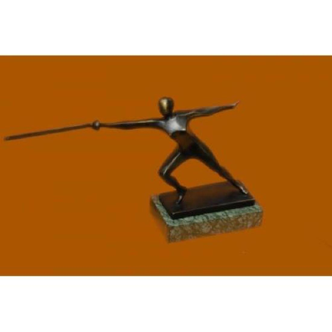 Brown Patina Bronze Statue on Marble Base Sculpture